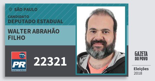 Santinho Walter Abrahão Filho 22321 (PR) Deputado Estadual | São Paulo | Eleições 2018