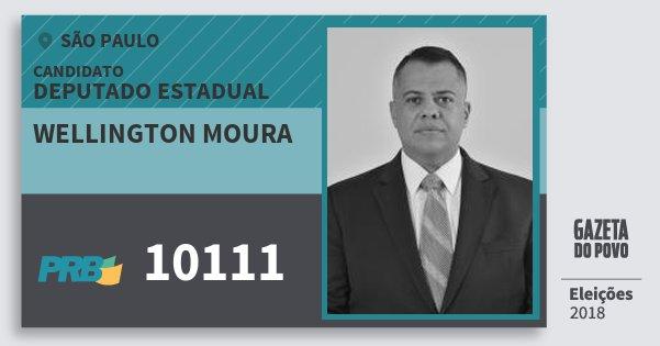 Santinho Wellington Moura 10111 (PRB) Deputado Estadual | São Paulo | Eleições 2018