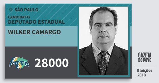 Santinho Wilker Camargo 28000 (PRTB) Deputado Estadual   São Paulo    Eleições 2018 d262b361d3