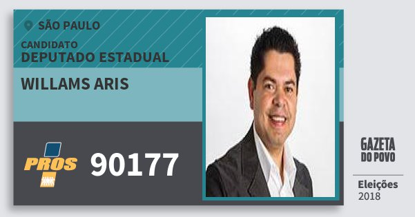 Santinho Willams Aris 90177 (PROS) Deputado Estadual | São Paulo | Eleições 2018