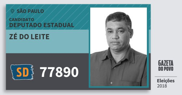Santinho Zé do Leite 77890 (SOLIDARIEDADE) Deputado Estadual | São Paulo | Eleições 2018