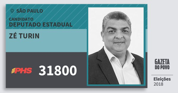 Santinho Zé Turin 31800 (PHS) Deputado Estadual | São Paulo | Eleições 2018
