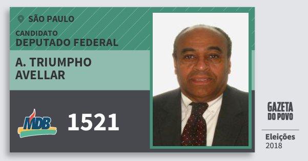 Santinho A. Triumpho Avellar 1521 (MDB) Deputado Federal | São Paulo | Eleições 2018