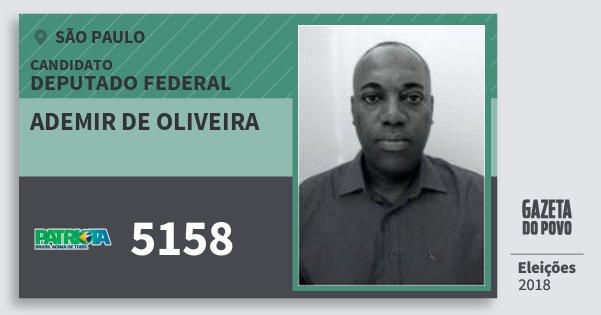 Santinho Ademir de Oliveira 5158 (PATRI) Deputado Federal | São Paulo | Eleições 2018