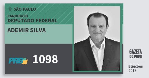 Santinho Ademir Silva 1098 (PRB) Deputado Federal | São Paulo | Eleições 2018