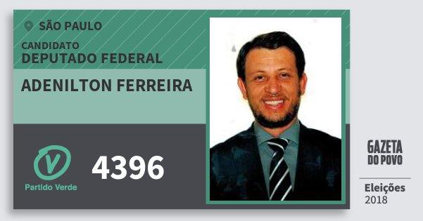 Santinho Adenilton Ferreira 4396 (PV) Deputado Federal | São Paulo | Eleições 2018