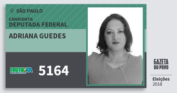 Santinho Adriana Guedes 5164 (PATRI) Deputada Federal | São Paulo | Eleições 2018