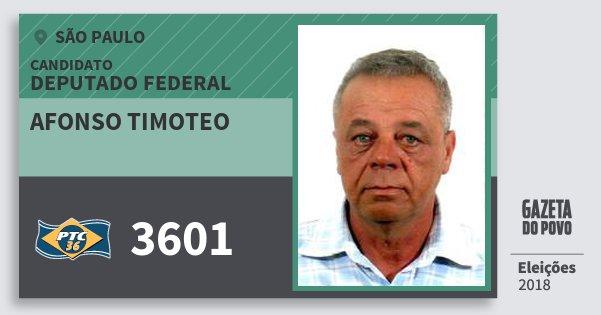 Santinho Afonso Timoteo 3601 (PTC) Deputado Federal | São Paulo | Eleições 2018