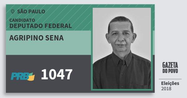 Santinho Agripino Sena 1047 (PRB) Deputado Federal | São Paulo | Eleições 2018