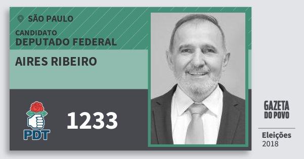 Santinho Aires Ribeiro 1233 (PDT) Deputado Federal | São Paulo | Eleições 2018