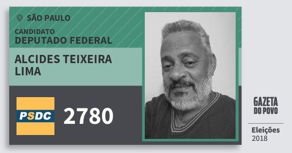 Santinho Alcides Teixeira Lima 2780 (DC) Deputado Federal | São Paulo | Eleições 2018