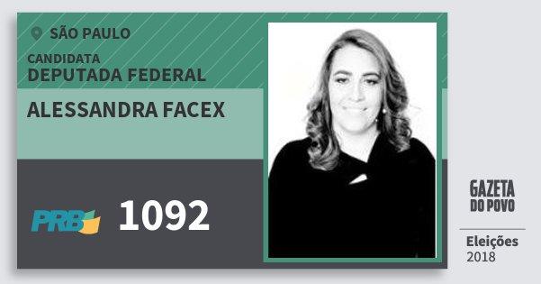 Santinho Alessandra Facex 1092 (PRB) Deputada Federal | São Paulo | Eleições 2018