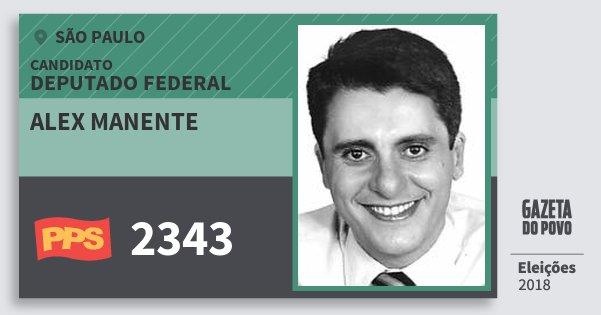 Santinho Alex Manente 2343 (PPS) Deputado Federal | São Paulo | Eleições 2018