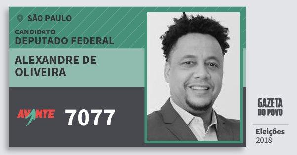 Santinho Alexandre de Oliveira 7077 (AVANTE) Deputado Federal | São Paulo | Eleições 2018