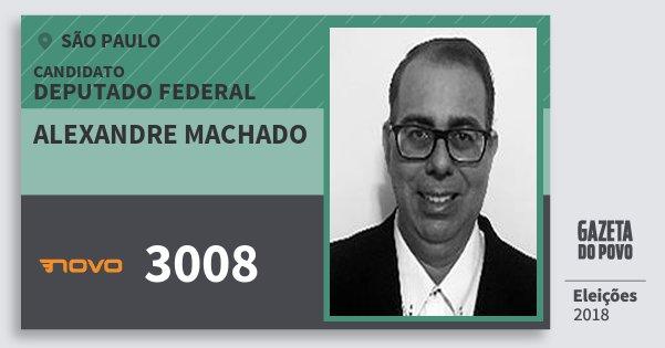 Santinho Alexandre Machado 3008 (NOVO) Deputado Federal | São Paulo | Eleições 2018