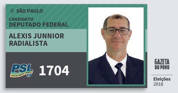 Santinho Alexis Junnior Radialista 1704 (PSL) Deputado Federal | São Paulo | Eleições 2018