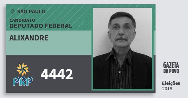 Santinho Alixandre 4442 (PRP) Deputado Federal | São Paulo | Eleições 2018