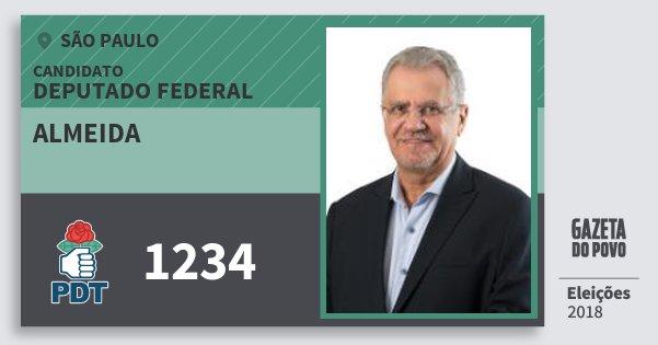 Santinho Almeida 1234 (PDT) Deputado Federal | São Paulo | Eleições 2018