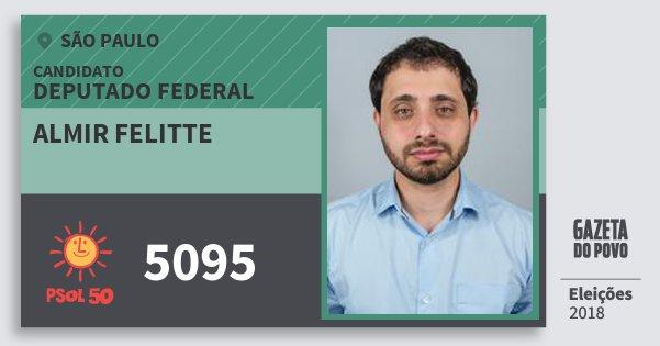 Santinho Almir Felitte 5095 (PSOL) Deputado Federal | São Paulo | Eleições 2018