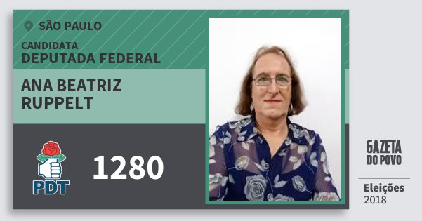Santinho Ana Beatriz Ruppelt 1280 (PDT) Deputada Federal | São Paulo | Eleições 2018