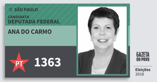 Santinho Ana do Carmo 1363 (PT) Deputada Federal | São Paulo | Eleições 2018