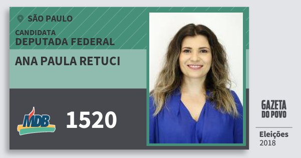 Santinho Ana Paula Retuci 1520 (MDB) Deputada Federal | São Paulo | Eleições 2018