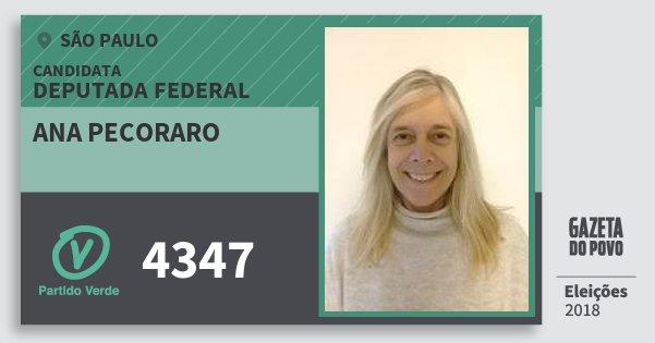 Santinho Ana Pecoraro 4347 (PV) Deputada Federal | São Paulo | Eleições 2018