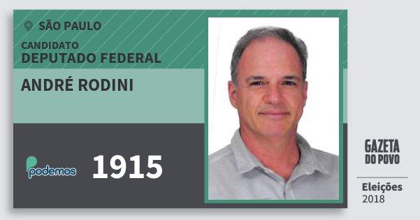 Santinho André Rodini 1915 (PODE) Deputado Federal | São Paulo | Eleições 2018