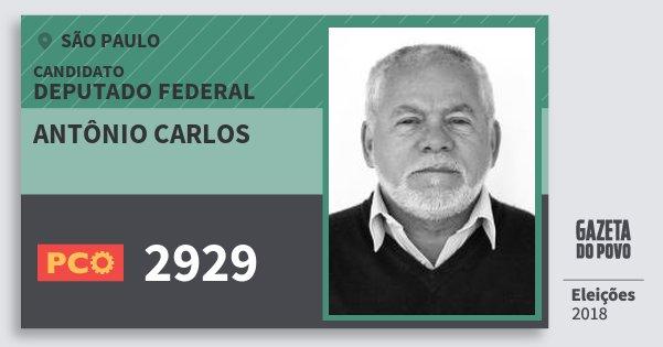 Santinho Antônio Carlos 2929 (PCO) Deputado Federal | São Paulo | Eleições 2018