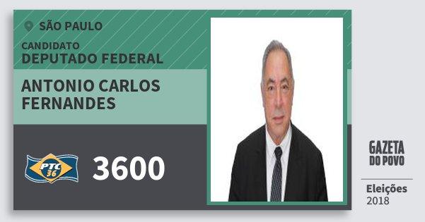 Santinho Antonio Carlos Fernandes 3600 (PTC) Deputado Federal | São Paulo | Eleições 2018