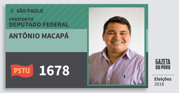 Santinho Antônio Macapá 1678 (PSTU) Deputado Federal | São Paulo | Eleições 2018