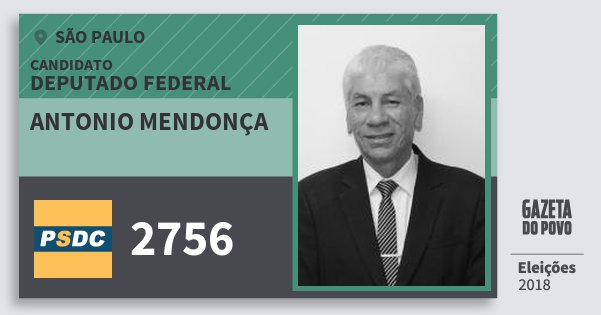 Santinho Antonio Mendonça 2756 (DC) Deputado Federal | São Paulo | Eleições 2018