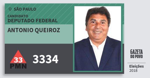 Santinho Antonio Queiroz 3334 (PMN) Deputado Federal | São Paulo | Eleições 2018