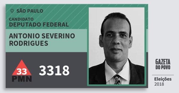 Santinho Antonio Severino Rodrigues 3318 (PMN) Deputado Federal | São Paulo | Eleições 2018