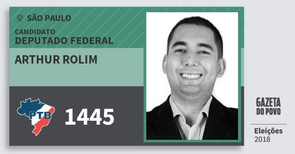 Santinho Arthur Rolim 1445 (PTB) Deputado Federal | São Paulo | Eleições 2018