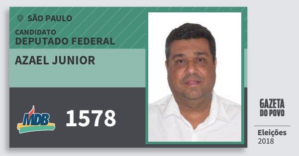 Santinho Azael Junior 1578 (MDB) Deputado Federal | São Paulo | Eleições 2018