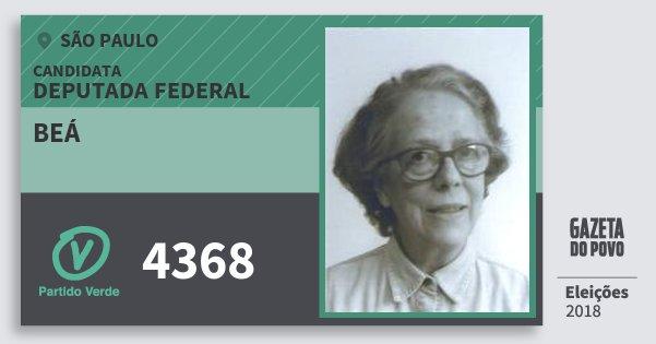 Santinho Beá 4368 (PV) Deputada Federal | São Paulo | Eleições 2018