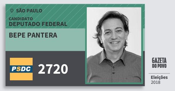 Santinho Bepe Pantera 2720 (DC) Deputado Federal | São Paulo | Eleições 2018