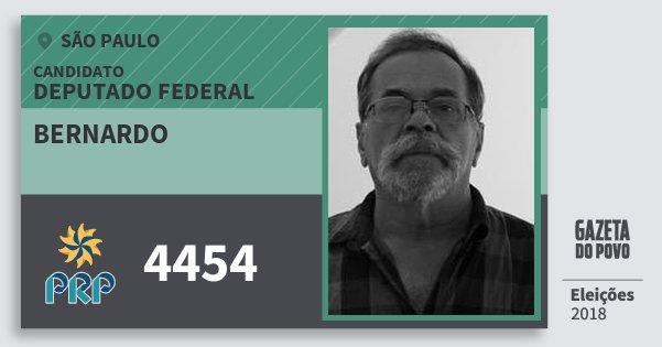 Santinho Bernardo 4454 (PRP) Deputado Federal | São Paulo | Eleições 2018