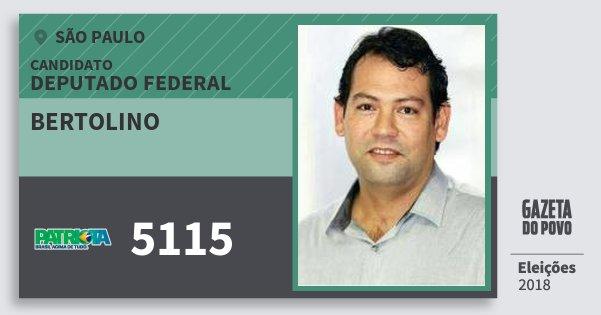 Santinho Bertolino 5115 (PATRI) Deputado Federal | São Paulo | Eleições 2018