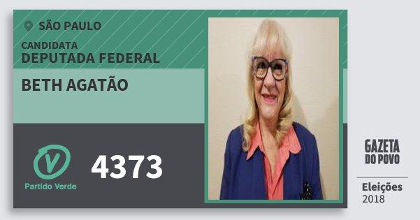 Santinho Beth Agatão 4373 (PV) Deputada Federal | São Paulo | Eleições 2018