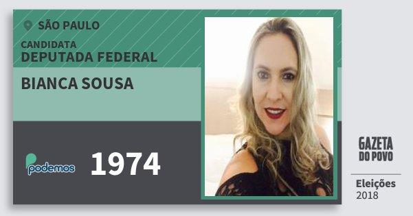 Santinho Bianca Sousa 1974 (PODE) Deputada Federal | São Paulo | Eleições 2018