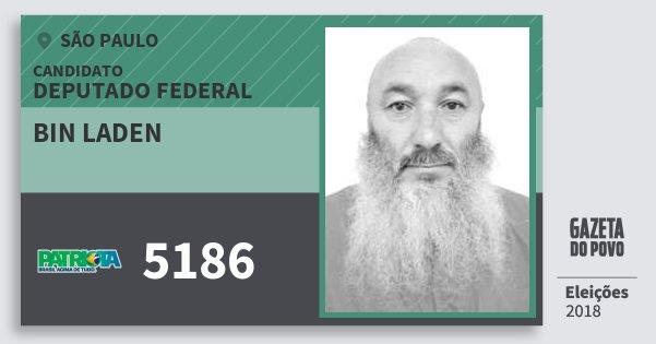 Santinho Bin Laden 5186 (PATRI) Deputado Federal | São Paulo | Eleições 2018