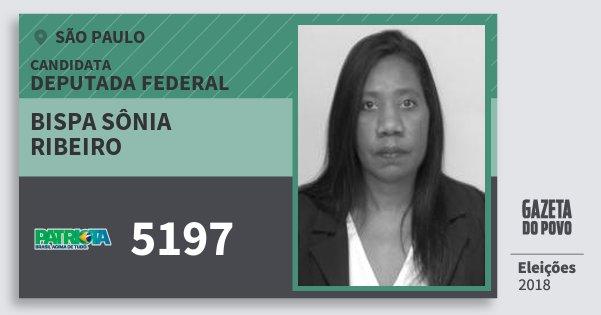 Santinho Bispa Sônia Ribeiro 5197 (PATRI) Deputada Federal   São Paulo   Eleições 2018