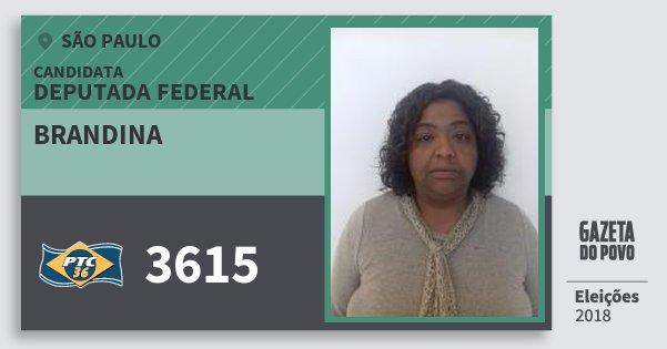 Santinho Brandina 3615 (PTC) Deputada Federal | São Paulo | Eleições 2018