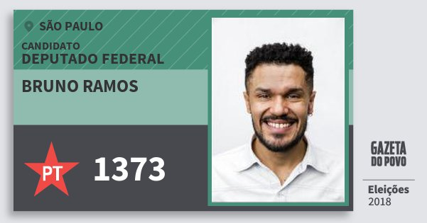 Santinho Bruno Ramos 1373 (PT) Deputado Federal | São Paulo | Eleições 2018