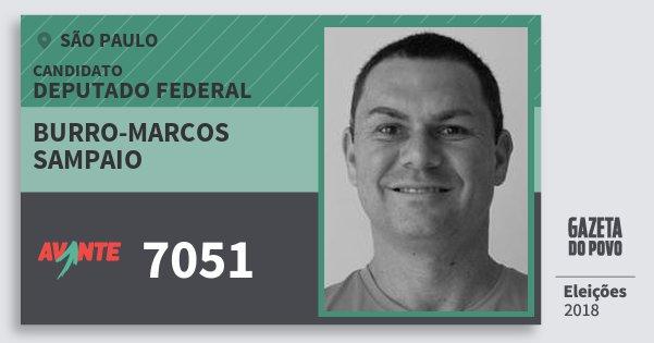 Santinho Burro-Marcos Sampaio 7051 (AVANTE) Deputado Federal | São Paulo | Eleições 2018