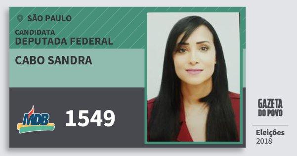 Santinho Cabo Sandra 1549 (MDB) Deputada Federal | São Paulo | Eleições 2018