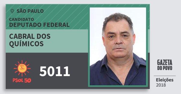 Santinho Cabral dos Químicos 5011 (PSOL) Deputado Federal | São Paulo | Eleições 2018