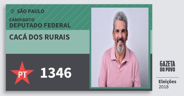 Santinho Cacá dos Rurais 1346 (PT) Deputado Federal | São Paulo | Eleições 2018